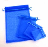 Wholesale Blue Organza Jewelry Bags - 100pcs 4sizes Royal Blue 7x9cm 9x11CM 13x18CM Organza Jewelry Gift Pouch Bags For Wedding favors,beads,jewelry Bag