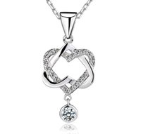 Wholesale Forever Crystals Jewelry - 925 Sterling Silver Forever Love Pendant Necklace Heart to Heart Perfect Ladies Luxury Wedding Austrian Crystal Party Dress Zircon Jewelry