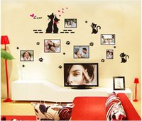 foto schwarze katze großhandel-Freier Verschiffenschwarzliebeskatzenfotorahmenaufkleber DIY Wandtattoos PVC-Fenster-Dekor scherzt freies Verschiffen ZYPB-7134