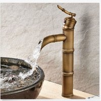 Wholesale Bamboo Waterfall Faucet - Wholesale And Retail Antique Brass Tall Bathroom Faucet Bamboo Shape Waterfall Sink Mixer Tap