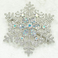 Wholesale Aurora Borealis Flower Pin - Wholesale Aurora Borealis Crystal Rhinestone Snowflake brooches Wedding Flower Pin Brooch & Pendant Christmas gift C927 F