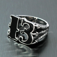Wholesale Magic Dragon - Men's Lucky No. 13 Dragon Claw Biker Ring Black Enamel Silver Number 13 316L Stainless Steel Occult Witchcraft Magic Finger Band