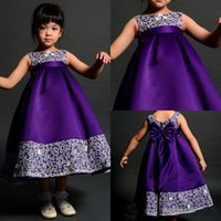 Wholesale Purple Dress Flower Girl Kid - 2017 Hot Sweet Kids Party Satin And Lace Sleeveless Evening Tea Length A Line Purple Flower Girl Dress