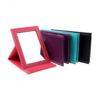 taşınabilir masaüstü standı toptan satış-Taşınabilir Makyaj Aynası Seyahat Deri Masaüstü Güçlü Katlanabilir Masa Kompakt Aynalar Kozmetik Vanity Standı Ayna Hediye