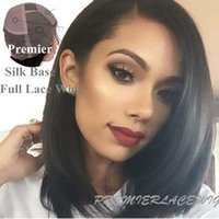 Wholesale Full Lace Yaki Remy - In Stock Silk Top Natural Straight  yaki 4# Light Brown #1 Jet Black  #1b Dark Brown Color Full lace Wigs 4X4'' Silk Base Indian Remy Hair