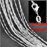 "Wholesale Sterling Silver Wave - 16"" 18"" 20"" 22"" 24"" 26"" 28"" 30"" Singapore Chain 925 Sterling Silver Beautiful Water Wave Necklace With Lobster clasps"