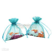 "Wholesale Orange Favor Bags - 50pcs bag Teal Blue 3""x3.5"" 7x9cm Strong Sheer Organza Pouch Wedding Party Jewelry Gift Bags PUH-09-TBU PUH-09"