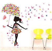 Wholesale Decorative Wall Decals Butterfly - Fashion Modern Girl Butterfly Wall Sticker Creative Floral Stickers Decorative Mural Child Rooms Stiker DIY Wall Decals QT085