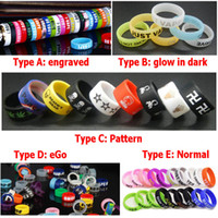 Wholesale Ego Engraved - Many Types Silicon Vape Band Silicone Ring Non-Slip eGo Engraved Luminous Bands for Mechanical Mods Decorative and Protection Custom Logo