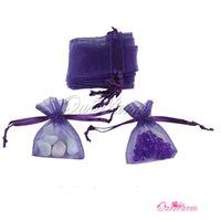 "Wholesale Souvenir Pouch - Wholesale- 2""x2.7""(5cmx7cm) 100 pcs lot Purple Strong Sheer Organza Pouch Wedding Invitations Souvenirs Jewelry Gifts Candy Decoartion Bags"