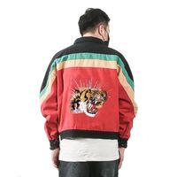 herbstmantel korea groihandel-Männer Jacken 2018 Herbst Korea Männer Jeansjacke Tiger Kopf Stickerei große Größe lose Multicolor Baumwolle Outwear Studenten Mantel