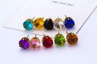 Wholesale Wholesale Cz Earings - Stud Earrings Women Jewelry Round Gold Silver Plated Studded Candy Crystals CZ Diamond Stud Earring For Women Earings Zircon Ear Sude Rings