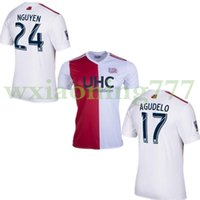 Wholesale red revolution - 2017 MLS New England soccer jerseys 2017 2018 New Arrival England Revolutions white with red football uniform 17 18 Men soccer Rain shirts
