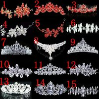 Wholesale Tiaras For 15 - 15 Different Kinds Cheap Fashion Flower Bridal Tiara Headwear Crown for Wedding Bridal Dresses Dress Gown