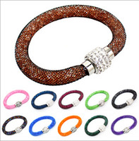 Wholesale Magnetic Plastic Bangle Bracelets - Wholesale Price Fashion Jewelry 2015 The Crystal Stardust Bracelet Star Dust With Magnetic Clasp Warp Charm Bracelets Bangles