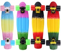 Wholesale 22 inchs Fade Pastel Three color rainbow style Skateboard Complete four wheel Long board Cruiser skate board