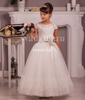 Wholesale Satin Ruffle Baby Dress - 2016 Cheap Lace Flower Girl Dresses Vintage Cap Sleeves Tutu Beaded Sash Jewel Neck Custom Made Little Baby Party Birthday Communion Dresses