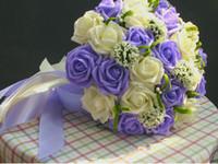 mor rose çiçek buketi toptan satış-2018 Pembe Mor Artficial çiçekler Mavi kırmızı Gül Ucuz Gelin Buketi yüksek Kalite düğün dekorasyon Taze gelin buketi buque de noiva