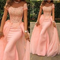 Wholesale Evening Gowns Lace Pink - Detachable Fashion Blush Pink Mermaid Elegant Evening Gowns Sleeves 2015 Off the Shoulder Short Sleeve Lace Prom Dresses Special Occasion