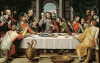 Wholesale Cloth Painting Designs - Free Shipping Última Cena The Last Supper Jesus Oil Painting Art Posters Prints Wall Paper Home Decor 16 24 36 47 inches