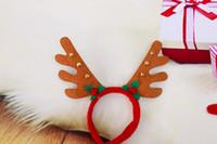 Wholesale Headdress Decor - Hot Selling Christmas Headbands Xmas Elk Antlers Headband with Bells Christmas Kids Headdress Christmas Gifts Party Decor