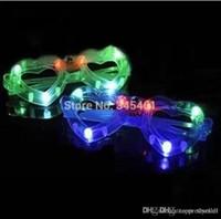 Wholesale Heart Shaped Glow Glasses - 100pcs Novelty Luminous Masquerade props- Heart-shaped LED light bar flashing glasses party Christmas concert glowing eyeglasses