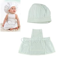 Wholesale Hat Cooks - Delicate Hot Newborn Infant Hat Apron Photos Photography Prop Baby White Cook Costume Free Shipping A5
