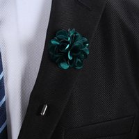 Wholesale Tuxedo Suits Colors - 16 Colors Handmade Women Man Lapel Flower Suit Pins Brooches Corsage Wedding Anniversary Party Boutonniere Stick Brooch Pin Tuxedo Decor