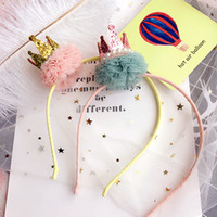 Wholesale Hair Accessoires Girls - Children hair sticks Girls beading sequins stereo crown headdress party princess yarn balls accessoires all-matched kids gifts C2382