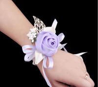 Wholesale Wholesale Wrist Wedding Corsages - Fashion Handmade Exquisite Brides Bridesmaid Flower Beautiful Wedding Bouquet Hand Flowers Delicated Wrist Corsages Fashionable Chest Flower