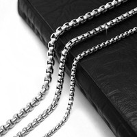 Wholesale Wholesale Jewelry Supply China - Stainless Steel Box Chain Finished Necklace with Lobster Clasp Jewelry Making Supply Silver Box Chain Anti-Tarnish Anti-Rust
