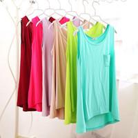 Wholesale Wholesale Women Korean Vest - Spring and summer women's new modal before long after short loose ladies vest primer wholesale Korean sleeveless shirt