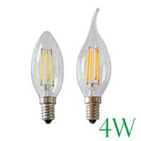 Wholesale Led Candelabra Bulb E27 - LED Candle Bulbs Retro Filament Bulbs Light E12 E14 E27 B22 2W 4W C35T C35 Filament Candelabra Edison Filament Type Bulb Lighting