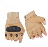 Wholesale Men Half Gloves - Half finger gloves Military Tactical Gloves Antiskid Outdoor Finger Mittens Winter Thermal Men Fighting Leather army military