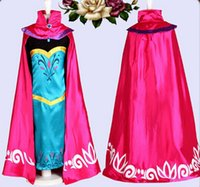 Wholesale Girls Red Tutu Dance Dress - Anna Elsa tutu dress party dress Girl dance dress costume Autumn dress long sleeves cape dress
