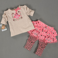 Wholesale Girls Leopard Pants - New Spring Baby Girl Clothes Set Girl Vitamin bird T-shirt+Skirt Pant 2 Pieces 100% Cotton Baby Clothing Good Quality 4 s l