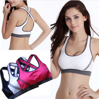 Wholesale Double Bra - Ms. double shock after running yoga professional sports bra gather Seamless cross no rims sports underwear