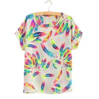 Wholesale Orange Plaid Shirt Women - Summer T Shirt Women Chiffon Shirts Print Feathers Dot Love Casual O-Neck Short Sleeve Stars White Plaid T-Shirt