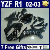yamaha yzf carenado al por mayor-Juego de carenados de inyección para Yamaha 2002 2003 YZF R1 mate negro brillante partes de la carrocería 02 03 kits de carenado r1 R13MG 7 regalos