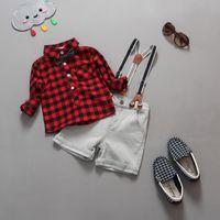 Wholesale Boys Jean Sets - Summer Spring Autumn clothing children suit boys fashion 2 pcs suit red shirt+jean kids outfits 1~7Y red white 6 set l