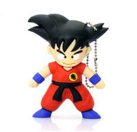 Wholesale Cartoons Pendrive 4gb - Real capacity Goku pen drive cartoon Dragon Ball SON GOKU gift 4gb 8gb 16gb 2gb usb flash drive pendrive