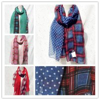 Wholesale Spring Infinity Scarves Wholesale - 2015 Exclusive New Color Plaid Dot Voile Scarves Spring Scarf Woman scarfs Ladies Shawls Unique infinity scarf