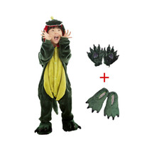 Wholesale Boys Dinosaur Shoes - Wholesale Kids Dinosaur Animal Costume-Childrens Plush Pajamas attach shoes paw Boys 3-10Yrs Cosplay party stage Costume