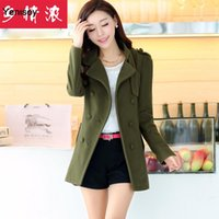 Wholesale Thick Girls Clothing - 2015 Hot Sale Trench Coat New Winter Clothing Nostalgia Concentrated In The Long Section Of Korean Coat Thick Wool Girl 0610 FG1511