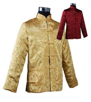 Wholesale Chinese Silk Satin Jackets - Fall-Gold Burgundy Male Two-Face Silk Satin Outwear Chinese Classice Reversible Jacket Vintage Button Coat S M L XL XXL XXXL M1040-A