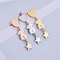 Wholesale White Gold Star Stud Earrings - Hot selling High Quality No Fade Stainless steel cute Animal panda heart star charms earrings Drop shipping for women fashion brand jewelry