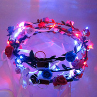 Venta caliente moda LED parpadeante Rose Flower Festival diadema Velo boda Light-Up floral Garland Hairband hija mejor regalo envío gratis