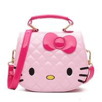 Wholesale Handbags Princess - New Korean cute mini Hello Kitty children Messenger bag cartoon PU girls waterproof shoulder bag fashion simple princess handbag