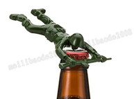 Wholesale Green Cast Iron - Newest party gifts Army Man Bottle Opener Bar Tool Gag Gift Die Cast Metal-Khaki Green with opp bag MYY