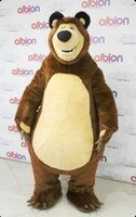 Wholesale Brown Grizzly Bear Costume - Xmas Masha Bear Mascot Costumes Party Fancy Dress Adult Outfit Ursa Grizzly gift